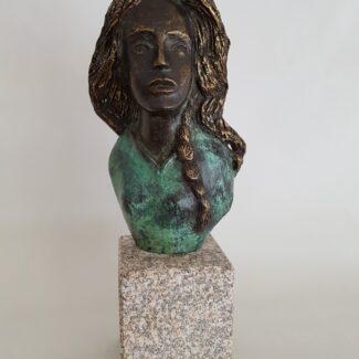 Obras de arte, escultura de bronce, busto chica