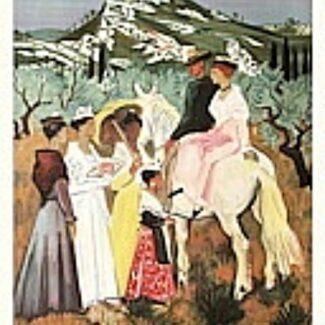 carteles originales, yves brayer,Arlessienne et gardians en Provence