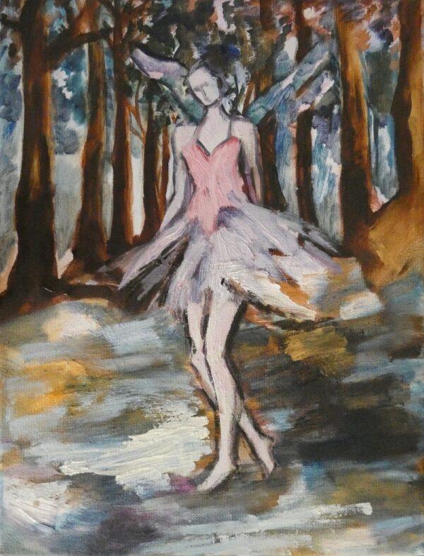 Venta Arte Online, Ángel bailarina en el bosque, óleo sobre lienzo