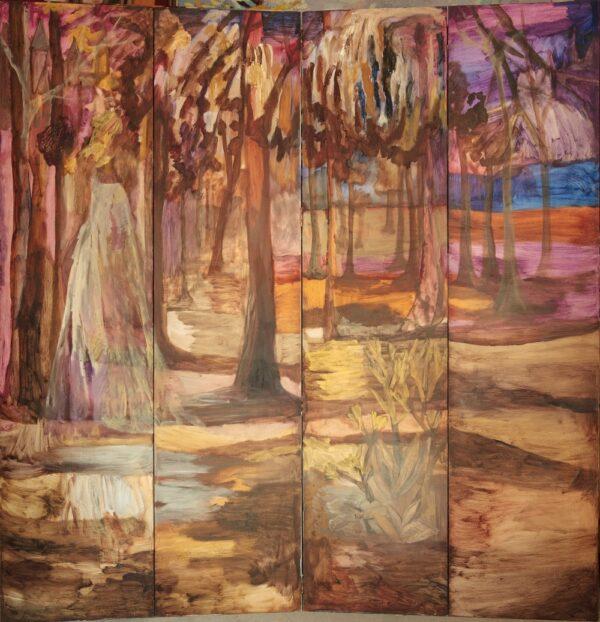 Comprar Arte Online, Biombo gran paisaje de tarde, Óleo sobre madera