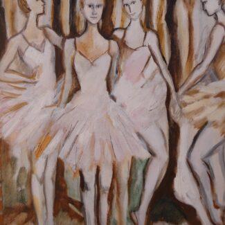 Compra Arte Online, Grupo de bailarinas, óleo sobre lienzo 220, Carolina Andrada