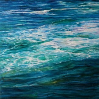Juan Fernandez Pintor, pkaya en costa vicentina-portugal-II acrílico- tela 50 x 50 cm