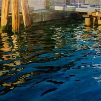 Juan Fernández Pintor, refeljos en venecia-Embarcadero I -acrilico-tela