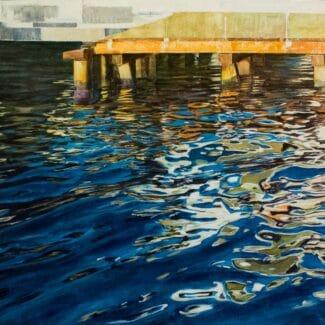 Juan Fernández Pintor, reflejos en venecia-Embarcadero I -acrilico-tela
